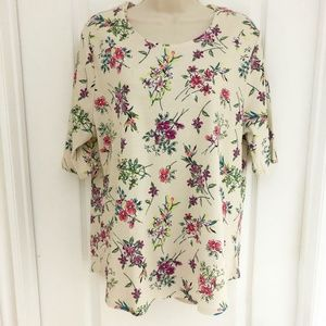 Time and Tru Top Beige Floral XXL